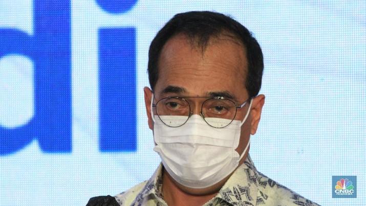 Menteri Perhubungan Budi Karya Sumadi saat peresmian staisun terpadu Tanah Abang, Rabu (17/6/2020) (CNBC Indonesia/ Tri Susilo)