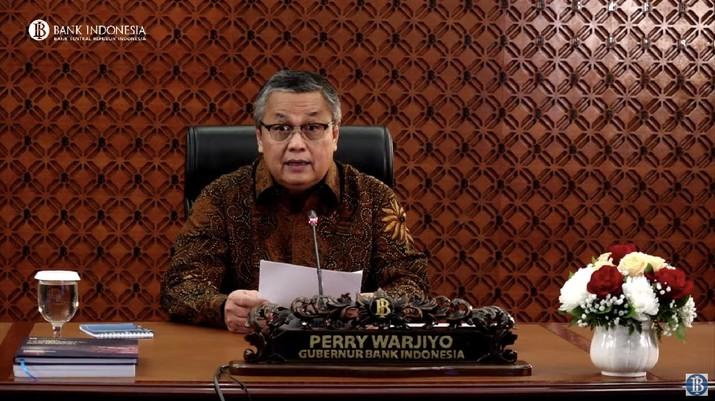 Gubernur Bank Indonesia Perry Warjiyo mengumumkan hasil rapat dewan gubernur (Tangkapan Layar Youtube Bank Indonesia)