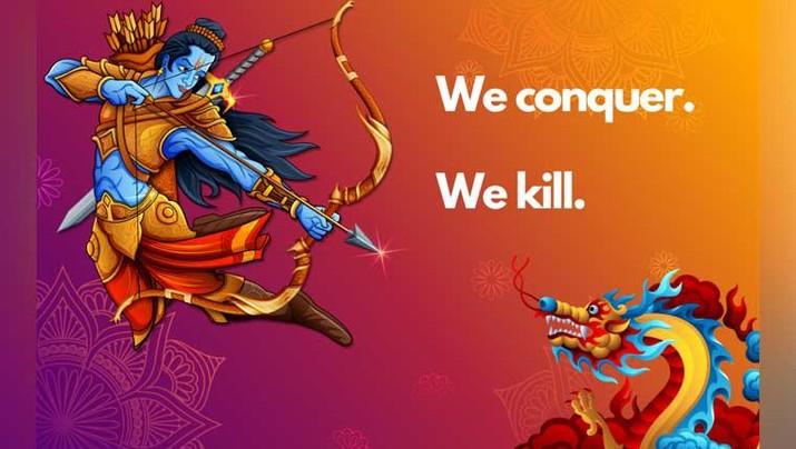 Ilustrasi Viral Rama melawan seekor naga China (kredit Gambar :  lihkg user Somethink.More)