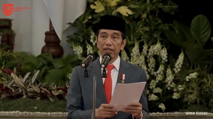 Jokowi di hari Peringatan ke-74 Hari Bhayangkara, Istana Negara, 1 Juli 2020 (BPMI)