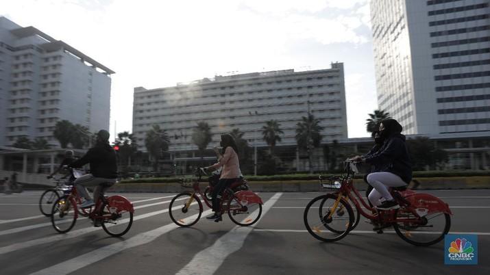 Layanan Bike Sharing berbasis aplikasi untuk masyarakat perkotaan. CNBC Indonesia/Tri Susilo