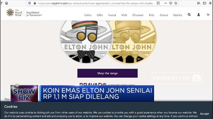 Koin Emas Elton John Dilelang Senilai Rp 1,1 Miliar
