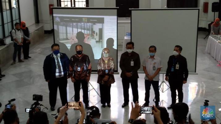 Konfrensi Pers Himbara di Gedung Filateli Jakarta, Senin (6//7/2020).  (CNBC Indonesia/ Syahrizal Sidik)
