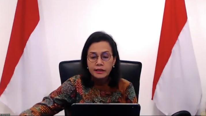 Menteri Keuangan Sri Mulyani memberikan Keterangan Pers Mengenai Burden Sharing Antara Pemerintah dan Bank Indonesia(Tangkapan Layar Youtube Kemenkeu RI)