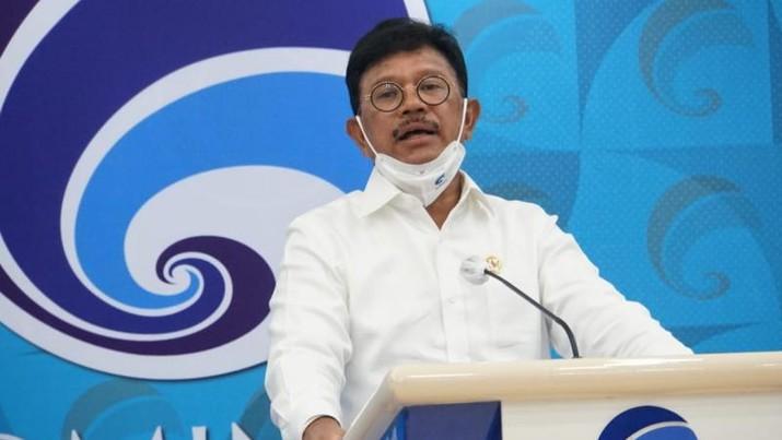 Menteri Kominfo Johnny G. Plate dalam konferensi pers virtual dari Ruang Serbaguna Kementerian Kominfo, Jakarta, Senin (06/07/2020). - (Indra Kusuma)