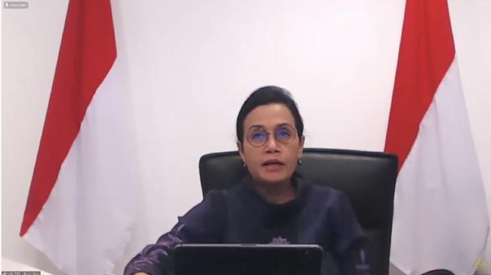 Menteri Keuangan Sri Mulyani dalam acara Peluncuran Penjaminan Kredit Modal Kerja UMKM Dalam Rangka Pemulihan Ekonomi Nasional (Tangkapan Layar Youtue Kemenkeu)