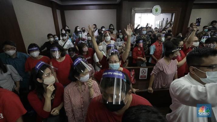 Suasana sidang lanjutan Penundaan Kewajiban Pembayaran Utang (PKPU) oleh Koperasi Simpan Pinjam (KSP) Indosurya di Pengadilan Negeri Jakarta Pusat, Rabu (8/7/2020). (CNBC Indonesia/ Tri Susilo)