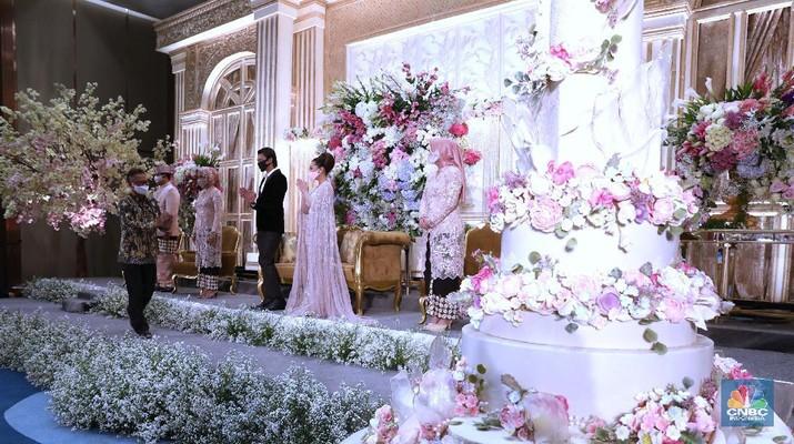 Simulasi resepsi pernikahan di masa normal baru di Jakarta, Kamis (9/7/2020). (CNBC Indonesia/ Muhammad Sabki)