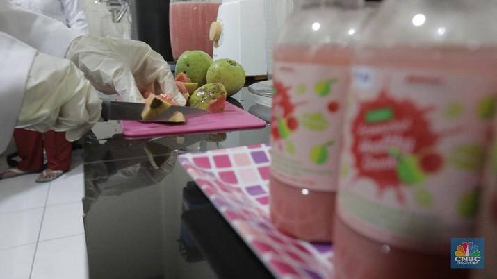 Lembaga Ilmu Pengetahuan Indonesia (LIPI) Puspitek, Tangerang Selatan, Banten terus berinovasi mengembangkan produk yang bermanfaat untuk menghadapi pandemi Covid-19 di Indonesia. Di antaranya, dengan memproduksi suplemen untuk daya tahan tubuh. Jumat (10/7/20). CNBC Indonesia/Tri Susilo  Peneliti Pusat Penelitian Kimia LIPI Yati Maryati menyatakan, pihaknya mengembangkan riset buah jambu biji merah menjadi minuman suplemen yang dapat meningkatkan imunitas tubuh. Teknik pengolahannya dilakukan dengan fermentasi.