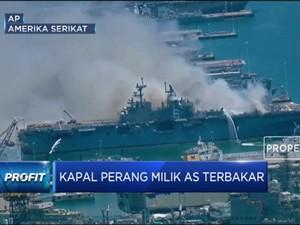 Kapal Perang USS Richard Milik AS Terbakar