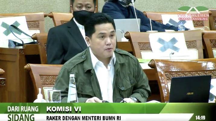 Erick Tohir rapat di komisi VI DPR. Ist