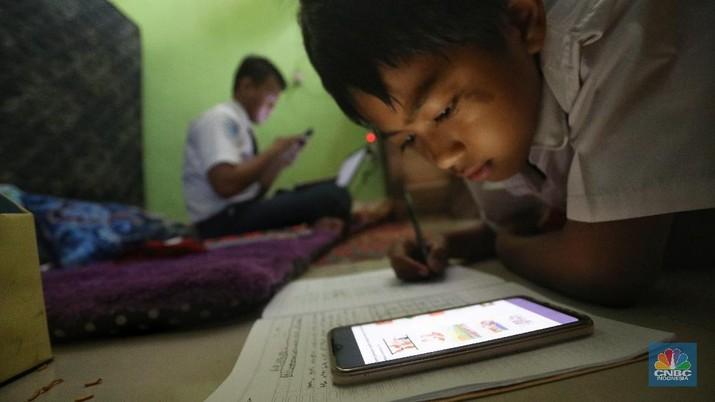 Ilustrasi Metode Belajar Mengajar viaOnline (CNBC Indonesia/Andrean Kristianto)