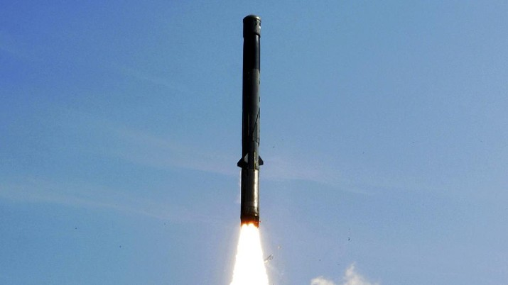 The BrahMos missile takes off from India's main missile testing center in the eastern state of Orissa state, in Balasore district, 230 kilometers (144 miles) from Bhubaneshwar, India, Thursday, Dec. 2, 2010. India on Thursday successfully test-fired the supersonic cruise missile, designed to carry conventional warheads, jointly developed with Russia to fine-tune its ability to hit targets, the defense ministry said. (AP Photo)
