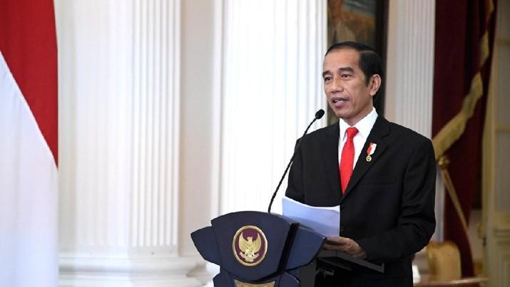 Presiden Joko Widodo memberikan sambutan dalam acara KLB Partai Gerindra, Sabtu (8/8/2020).