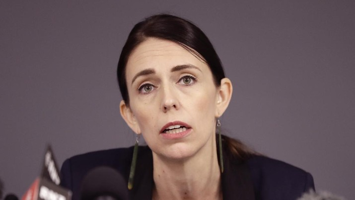 FILE - In this Dec. 10, 2019, file photo, New Zealand Prime Minister Jacinda Ardern holds a press conference in Whakatane, New Zealand. Ardern on Tuesday, Aug. 11, 2020, says authorities have found four cases of the coronavirus in one Auckland household from an unknown source, the first cases of local transmission in the country in 102 days. (AP Photo/Mark Baker, File)