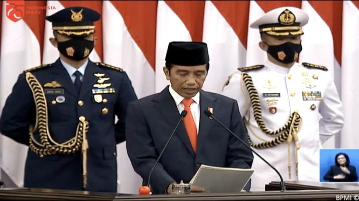 Presiden Jokowi di Sidang Tahunan MPR RI  Dan Sidang Bersama DPR RI Dan DPD RI. (Tangkapan Layar Sekretariat Presiden RI)