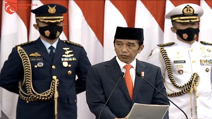 Presiden RI Jokowi di Sidang Tahunan MPR RI (Tangkapan Layar Youtube)