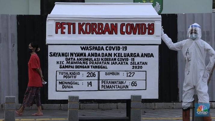 Replika peti mati jenazah pasien virus Corona (COVID-19)  di Kemang Jakarta Selatan (CNBC Indonesia/ Muhammad Sabki)