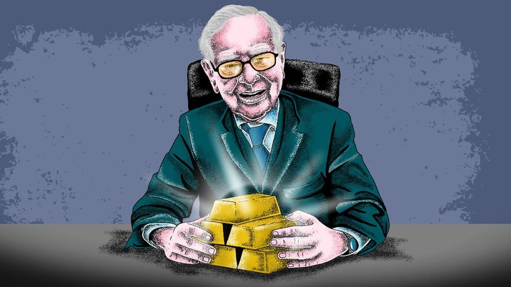 Infografis/ rela jual saham bank Warren  Buffett Kini  Investasi Emas/Aristya Rahadian