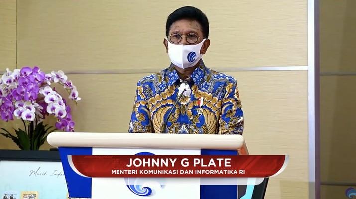 Johny G Plate, Mentri komunukasi dan Informatika. (Dok: Tangkapan layar Kemkominfo TV)