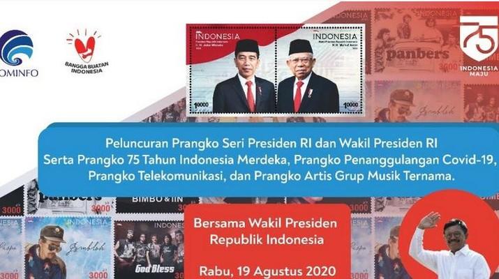 Prangko Seri Presiden RI dan Wakil Presiden RI. (Dok: Tangkapan layar Kemkominfo TV)