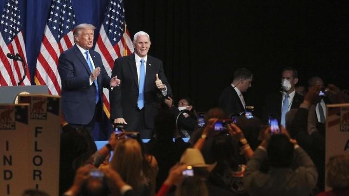 Presiden Donald Trump pada hari pertama Konvensi Partai Republik di Charlotte, North Carolina, 24 August 2020. AP/Travis Dove
