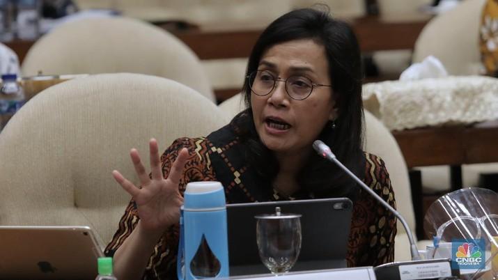 Menteri Keuangan Sri Mulyani di Komisi XI DPR RI. (CNBC Indonesia/Muhammad Sabki)