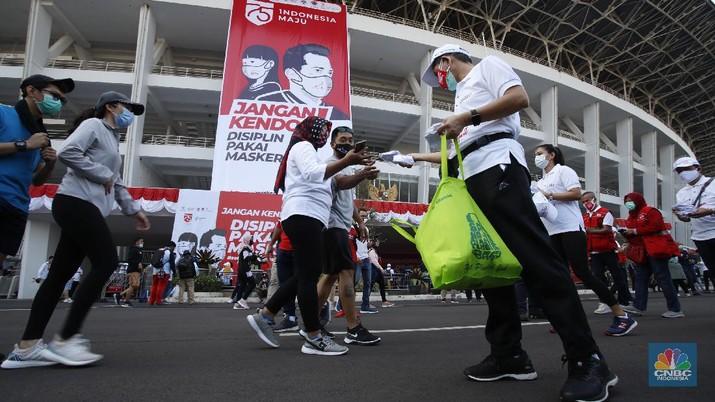 Ilustrasi gerakan masker nasional di Stadion Gelora Bung Karno (GBK) Jakarta. (CNBC Indonesia/Tri Susilo)