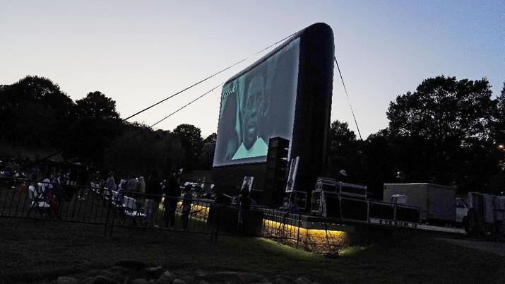 Chadwick Boseman Tribute on Thursday, Sept. 3, 2020, in Anderson, S.C. (AP Photo/Brynn Anderson)