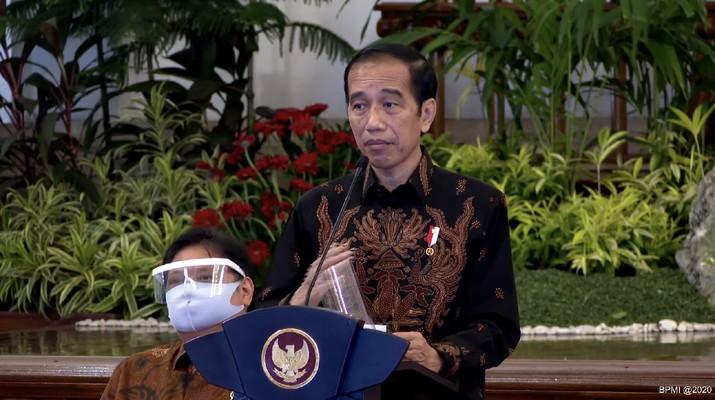 Presiden Joko Widodo saat Sambutan Sidang Kabinet Paripurna untuk Penanganan Kesehatan dan Pemulihan Ekonomi Tahun 2021 (Tangkapan Layar Youtube Sekretariat Presiden)
