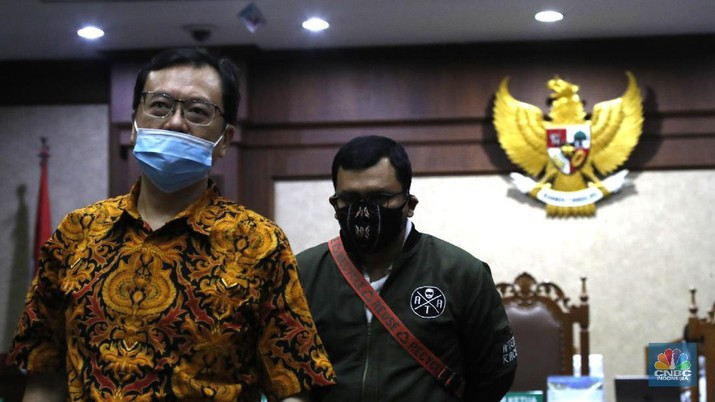 Sidang lanjutan kasus korupsi PT. Asuransi Jiwasraya (Persero)di Pengadilan Negeri, Jakarta Pusat, Senin (7/9/20). (CNBC Indonesia/Tri Susilo)