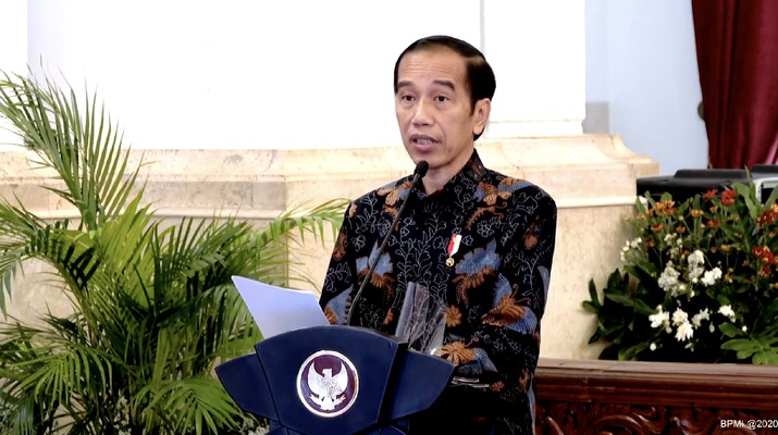 Presiden Joko Widodo  dalam Kick Off Meeting Pemeriksaan atas Pengelolaan dan Tanggung Jawab Keuangan Negara dalam Pandemi(Tangkapan Layar Youtube Sekretariat Presiden)