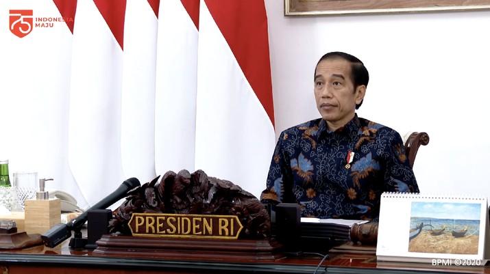 "Presiden Joko Widodo dalam Rapat Terbatas ""Lanjutan Pembahasan Persiapan Pelaksanaan Pilkada Serentak"" (Tangkapan Layar Youtube Sekretariat Presiden)"