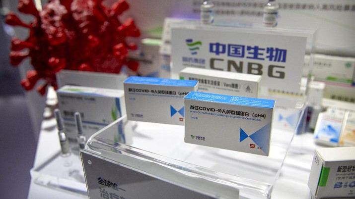 A box for a COVID-19 immunoglobin treatment is displayed at an exhibit by Chinese pharmaceutical firm Sinopharm at the China International Fair for Trade in Services (CIFTIS) in Beijing, Saturday, Sept. 5, 2020. With the COVID-19 pandemic largely under control, China's capital on Saturday kicked off one of the first large-scale public events since the start of the coronavirus outbreak, as tens of thousands of attendees were expected to visit displays from nearly 2,000 Chinese and foreign companies showcasing their products and services. (AP Photo/Mark Schiefelbein)