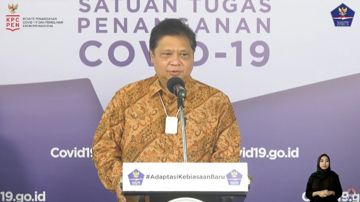 Menteri Koordinator Bidang Perekonomian Airlangga Hartarto (Tangkapan Layar Youtube BNPB Indonesia)