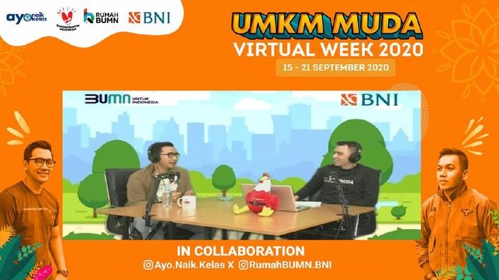 Rumah BUMN BNI kepada generasi milenial, PT Bank Negara Indonesia (Persero) Tbk (BNI) berkolaborasi dengan Ayo Naik Kelas menyelenggarakan program UMKM MUDA Virtual Week pada 15 – 21 September 2020.