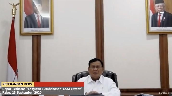 Menhan Prabowo Subianto di Keterangan Pers Rapat Terbatas