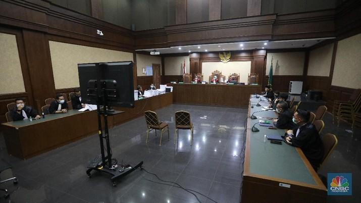 Sidang kasus dugaan korupsi di PT Asuransi Jiwasraya (Persero) di PN Jakarta Pusat (CNBC Indonesia/ Andrean Kristianto)