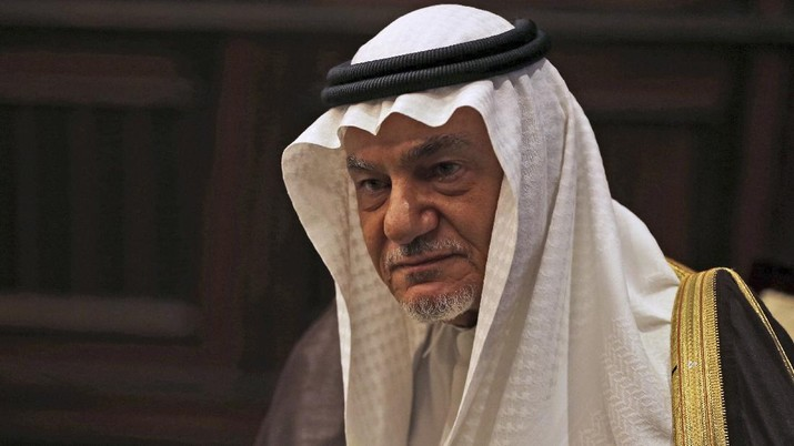 FILE - In this Saturday Nov. 24, 2018, file photo, Saudi Prince Turki al-Faisal talks to the Associated Press in Abu Dhabi, United Arab Emirates. Saudi Arabia insists officially that there can be no formal ties with Israel before Palestinian statehood is achieved, but state-backed media and clerics have softened their tone toward Jews and there has been no official condemnation or criticism of the deals signed by the UAE or Bahrain with Israel. (AP Photo/Kamran Jebreili, File)