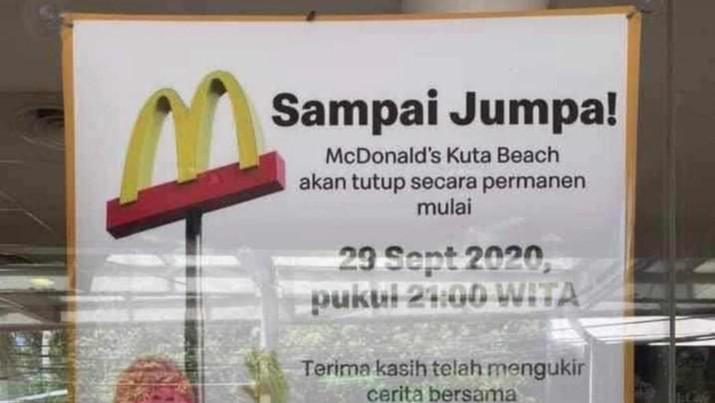 McDonald's Kuta Beach akan tutup secara Permanen. (Ist)