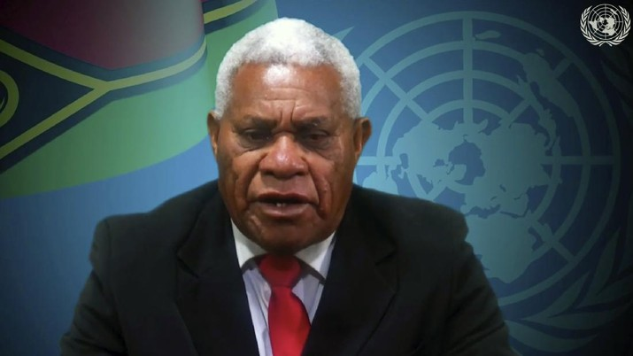 In this image made from UNTV video, Vanuatu's Prime Minister Bob Loughman speaks in a pre-recorded message which was played during the 75th session of the United Nations General Assembly, Saturday, Sept. 26, 2020, at U.N. headquarters. (UNTV via AP)