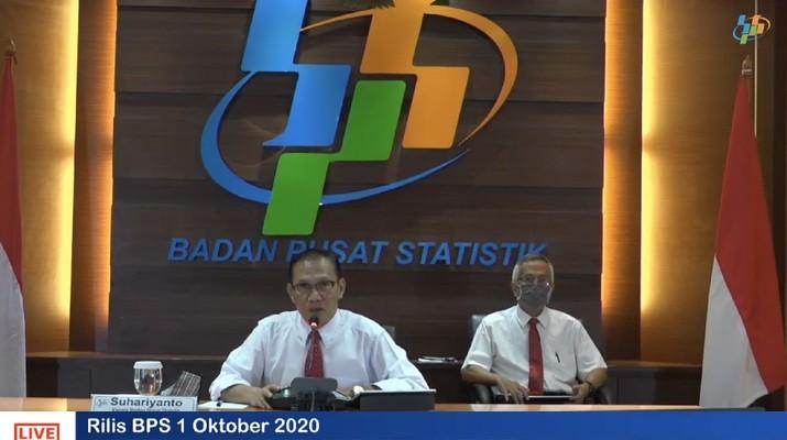 BPS  mengumumkan sejumlah indikator perekonomian antara lain IHK September 2020 hingga perkembangan pariwisata dan transportasi nasional Agustus 2020. (Tangkapan Layar Youtube BPS Statistics)