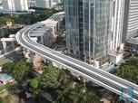 Potret Udara Proyek LRT Jabodebek di Kawasan Kuningan Jakarta