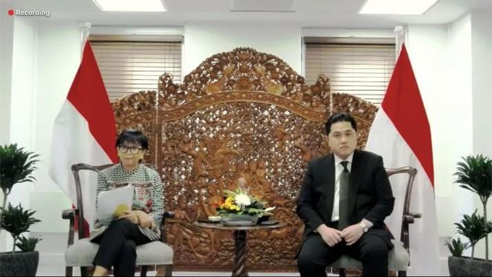 Menteri BUMN Erick Thohir & Menlu Retno Marsudi (Tangkapan Layar)