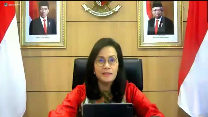 Menteri Keuangan Sri Mulyani dalam Konfrensi Pers APBN KiTa ( Tangkapan Layar Youtube Ministry of Finance Republic of Indonesia)