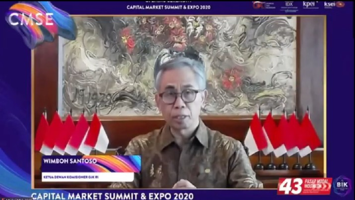 Wimboh Santoso dalam acara Capital Market Summit and Expo 2020 (CMSE 2020). (Tangkapan Layar Youtube Indonesia Stock Exchange)