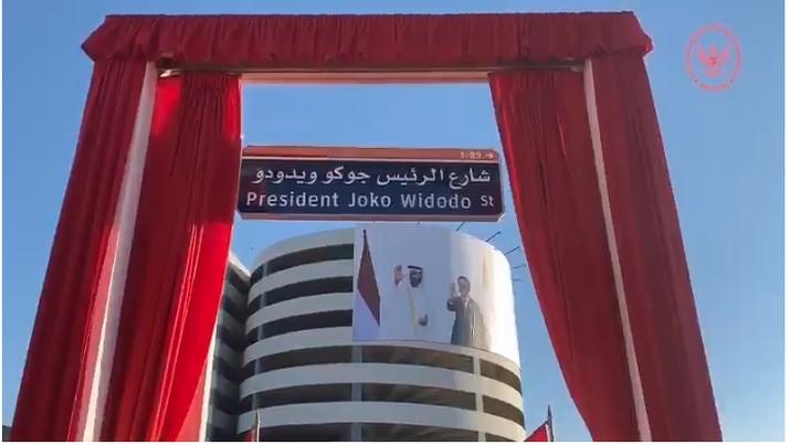 Peresmian Jalan Presiden Joko Widodo di Abu Dhabi (Tangkapan Layar Video Kedubes RI di Abu Dhabi)
