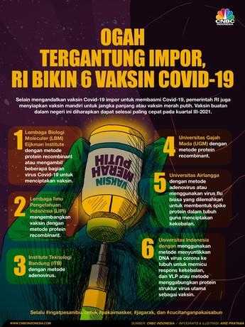 Ogah Tergantung Impor, RI Bikin 6 Jenis Vaksin Covid-19