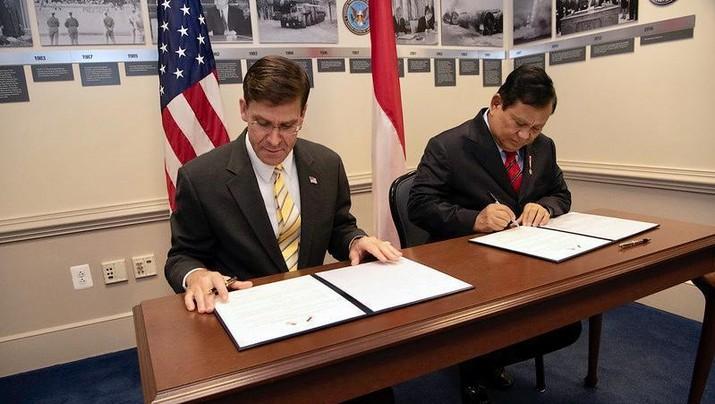 Peretemuan Menteri Pertahanan AS, Dr. Mark T. Esper bertemu dengan Menteri Pertahanan RI, Prabowo Subianto, di Pentagon, Washington, D.C., Amerika Serikat, (Dok. Kemhan)