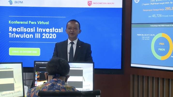 Kepala BKPM Bahlil Lahadalia  dalam acara Konferensi Pers Virtual Realisasi Investasi Triwulan III 2020 (Tangkapan Layar Youtube BKPM)